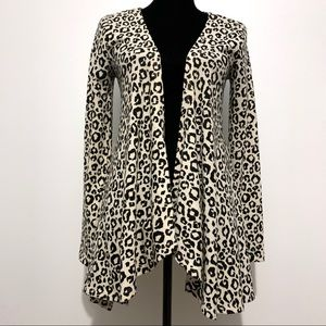 Criss Cross Leopard Print Open Cardigan Size M